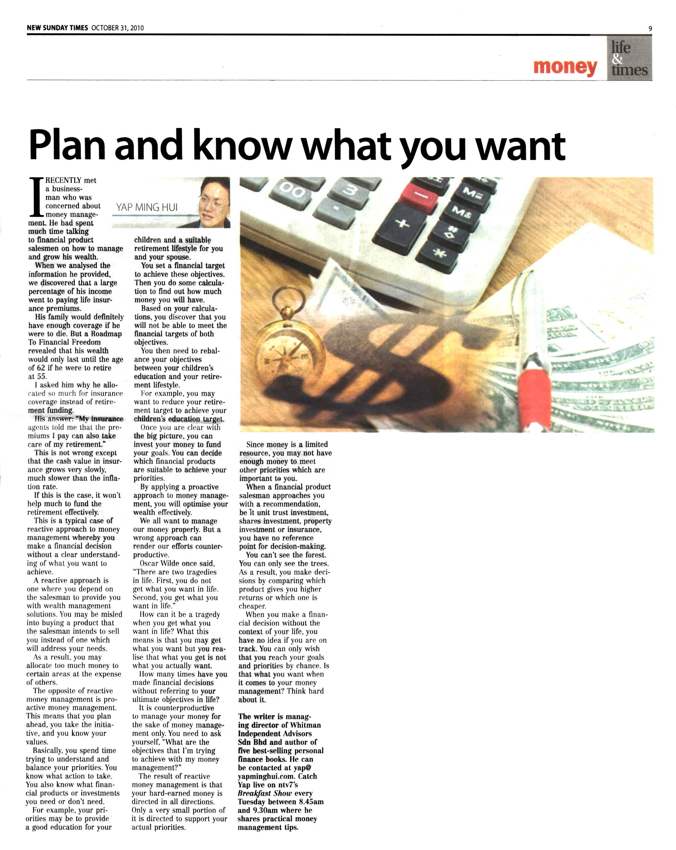Plan and know what you want (New Sunday Times) - 31 Oct 2010