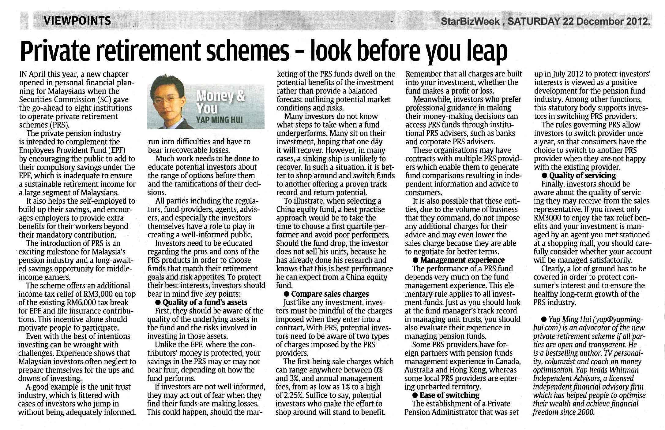 Private Retirement Schemes - Look Before You Leap - 22 Dec 2012