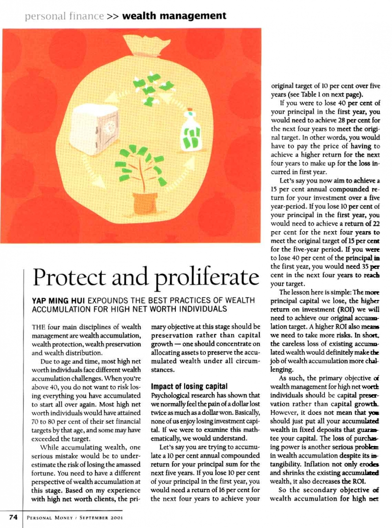 Protect and Proliferate (Personal Money) - 01 Sep 2001