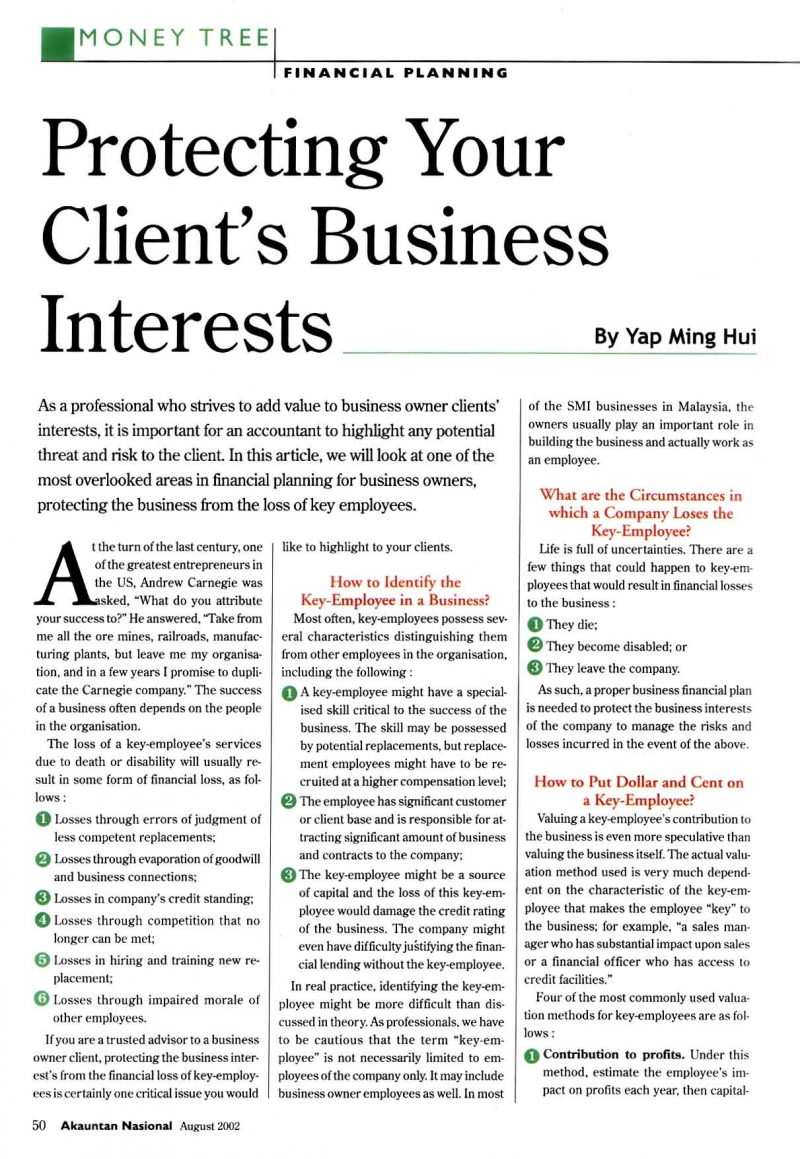 Protecting Your Client's Business Interests (Akauntan Nasional) - 01 Aug 2002