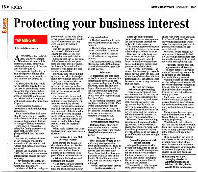 Protecting your business interest (New Sunday Times) - 11 Nov 2007