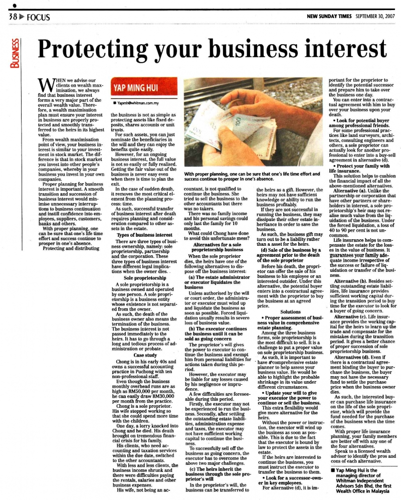 Protecting your business interest (New Sunday Times) - 30 Sep 2007