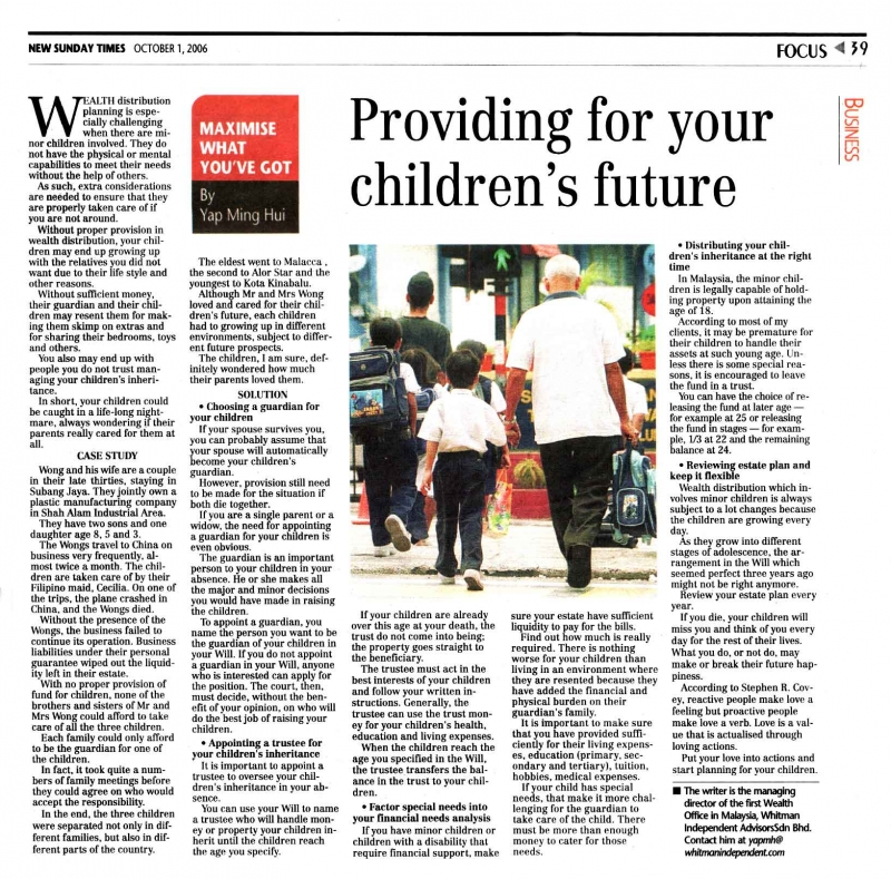 Providing For Your Children's Future(New Sunday Times) - 01 Oct 2006