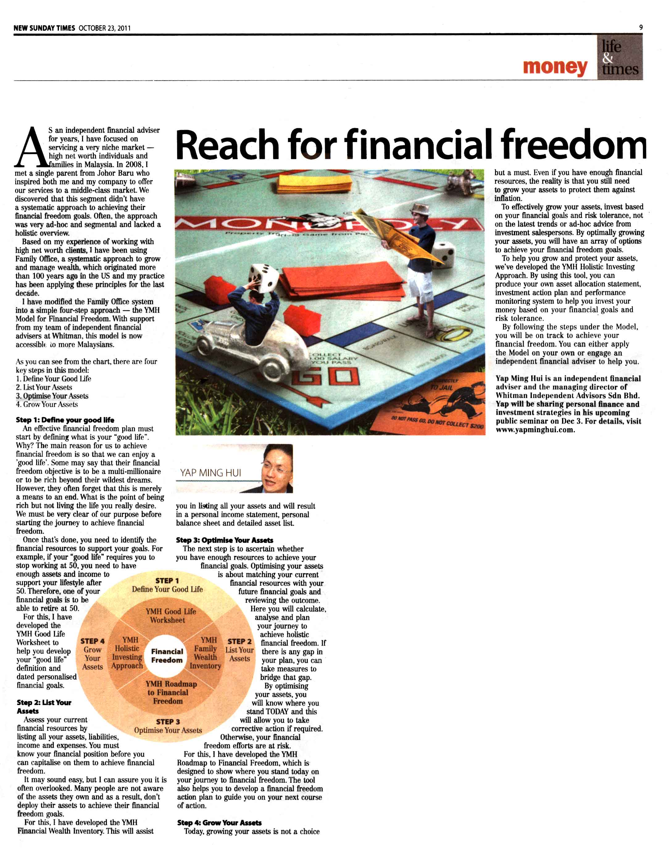 Reach For Financial Freedom - 23 Oct 2011