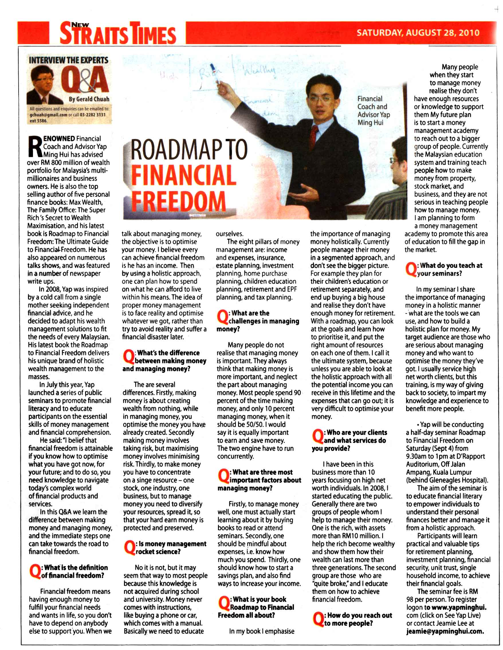 Roadmap to financial freedom (New Straits Times) - 23 Aug 2010