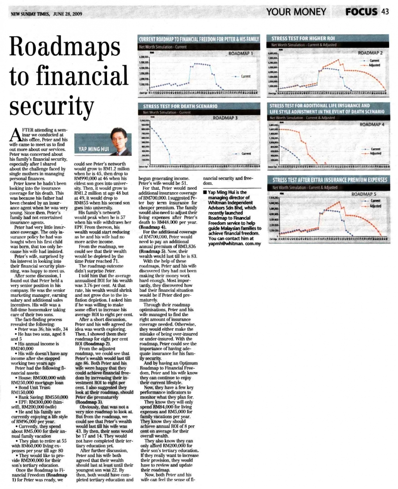 Roadmaps to financial security (New Sunday Times) - 28 Jun 2009