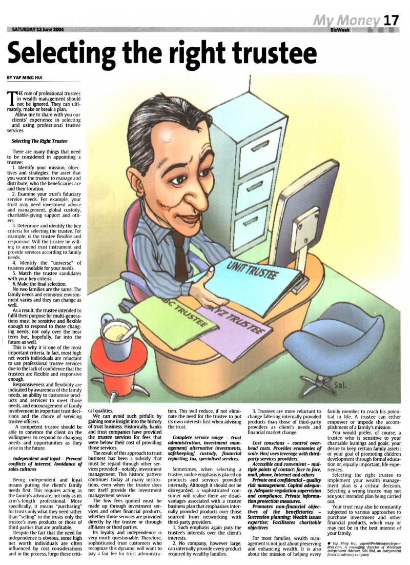 Selecting The Right Trustee (The Star) - 12 Jun 2004