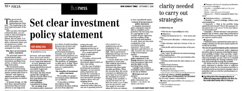 Set Clear Investment Policy Statement  Sep   Whitman