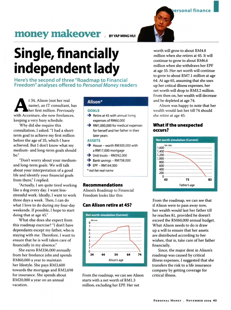 Single, financially independent lady (Personal Money) - 01 Nov 2009