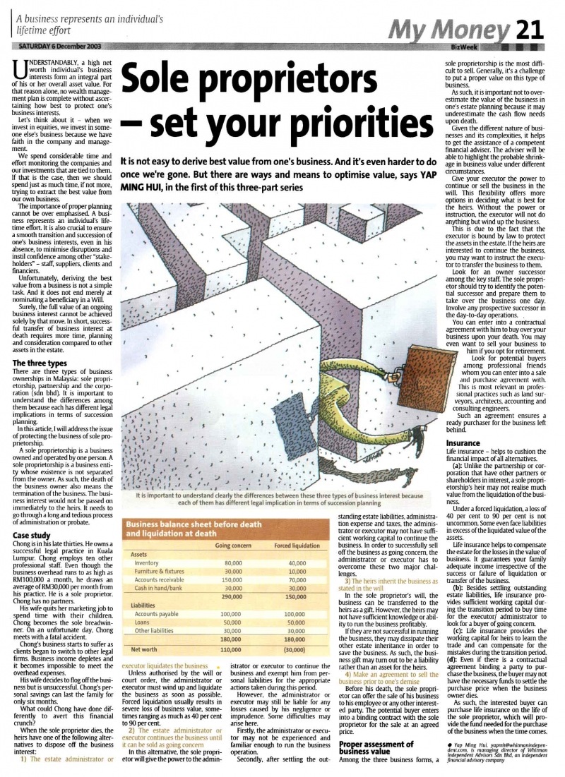 Sole Proprietors - Set Your Priorities (The Star) - 06 Dec 2003
