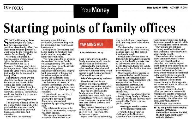 Starting points of family offices (New Sunday Times) - 19 Oct 2008