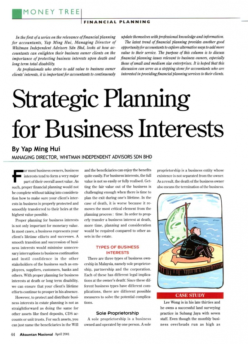 Strategic Planning For Business Interests (Akauntan Nasional) - 01 Apr 2001