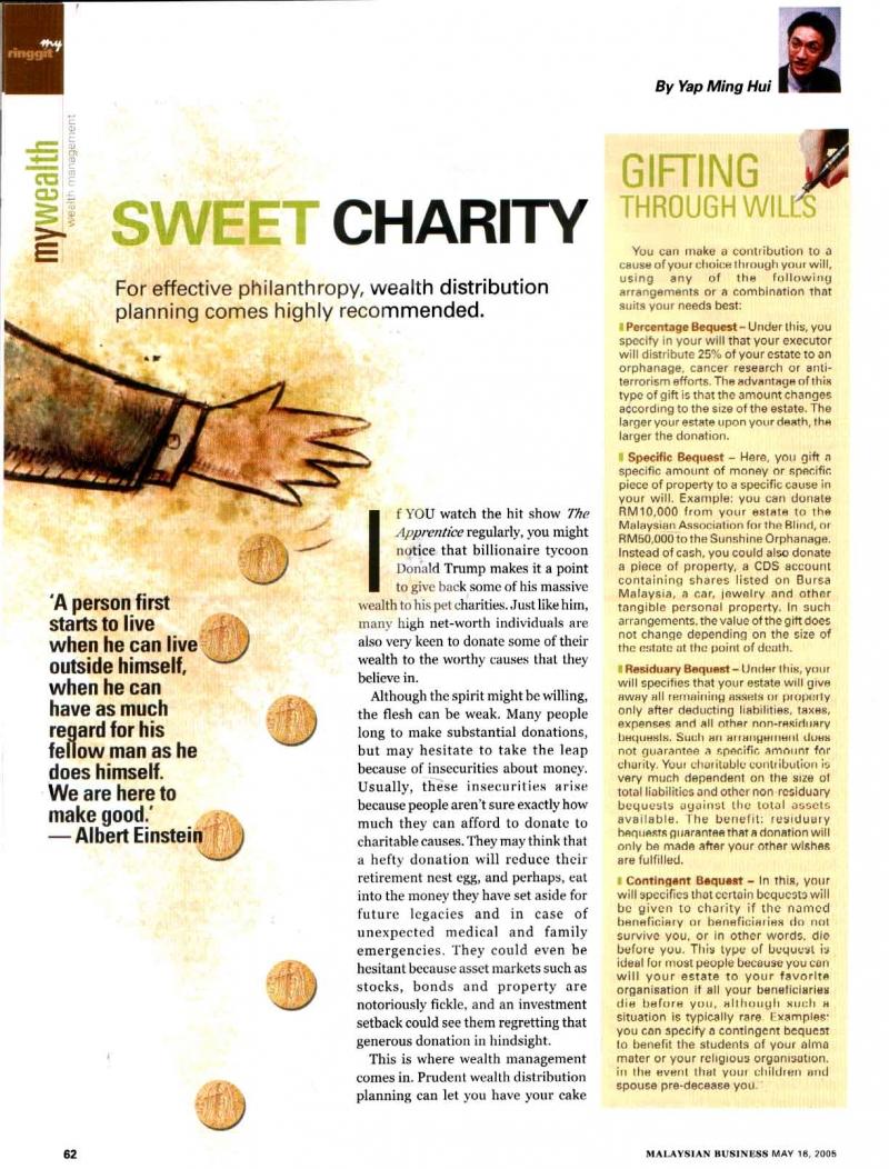 Sweet Charity (Malaysian Business) - 16 May 2005