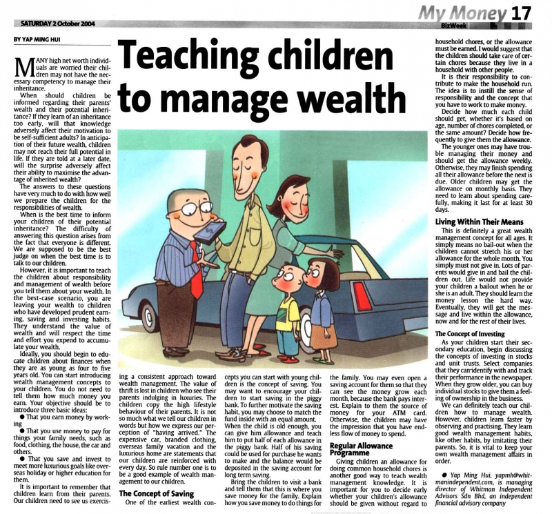 Teaching Children To Manage Wealth (Ths Star) - 02 Oct 2004