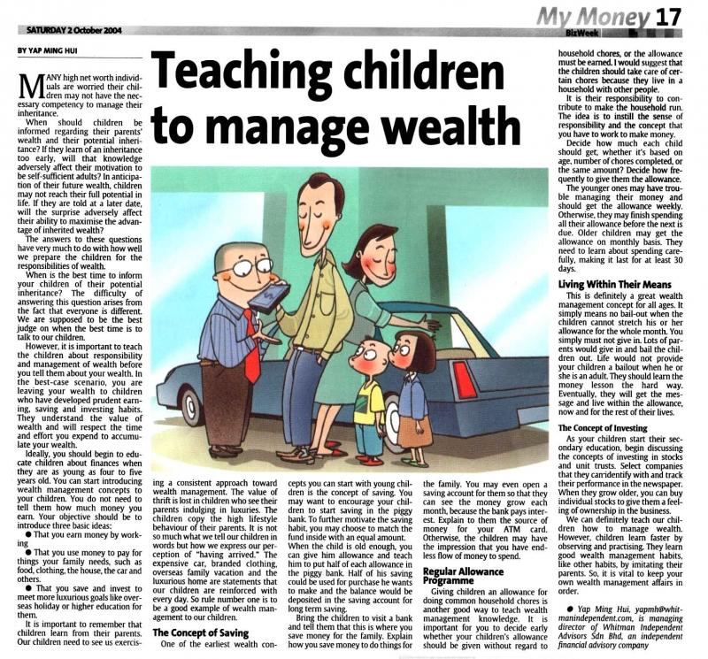 Teaching Children To Manage Wealth (Ths Star) - 02 Oct 2004