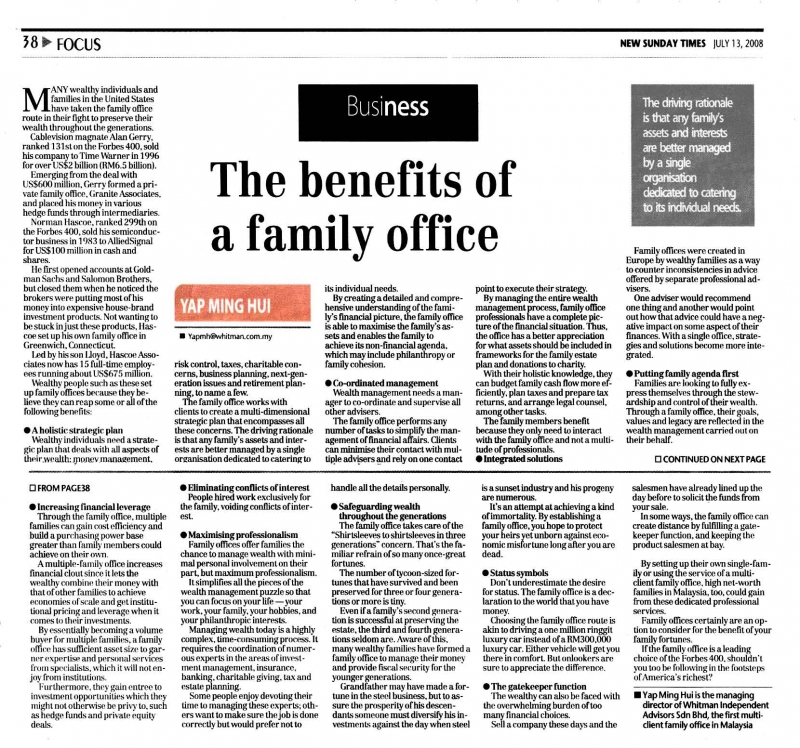 The Benefits of a Family Office (New Sunday Times) - 13 Jul 2008