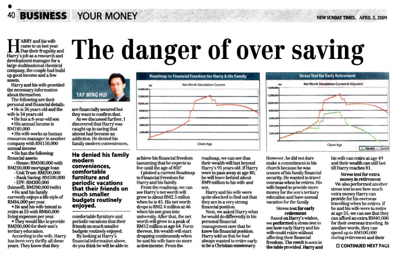 The Danger of Over Saving (New Sunday Times) - 05 Apr 2009