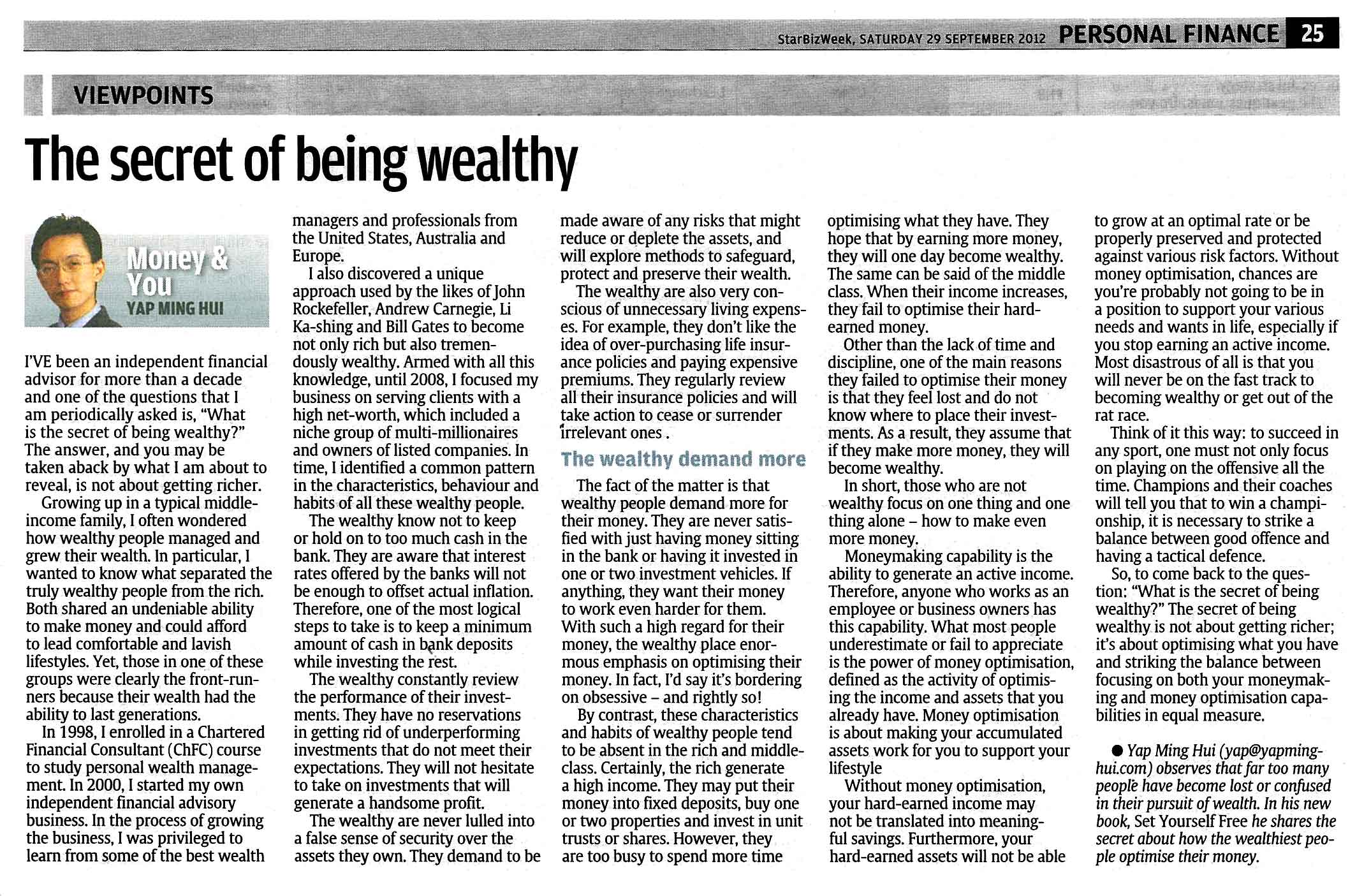 The Secret of being Wealthy - 29 Sep 2012