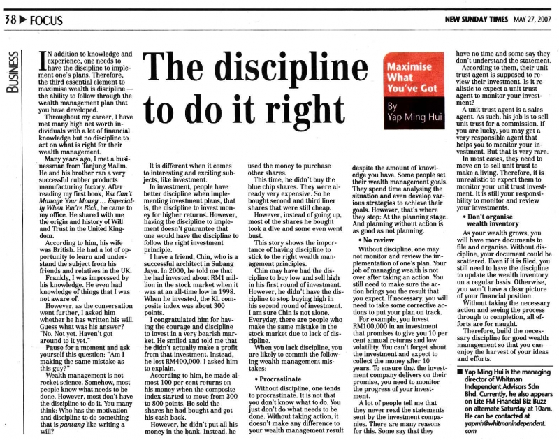 The discipline to do it right (New Sunday Times) - 27 May 2007