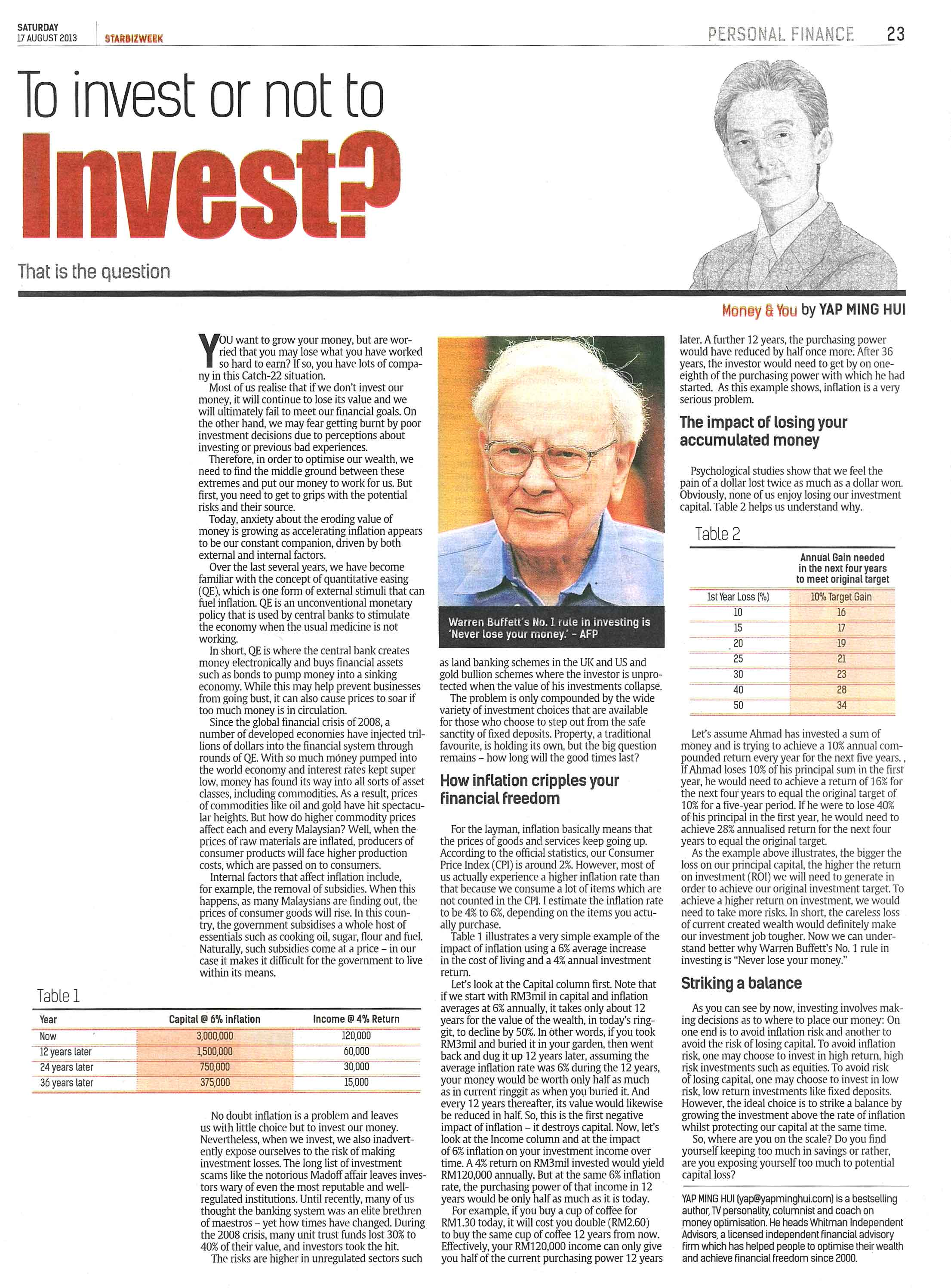 To Invest or not to invest That is the question 17 Aug 2013