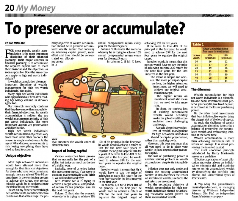 To Preserve or to Accumulate (The Star) - 01 May 2004