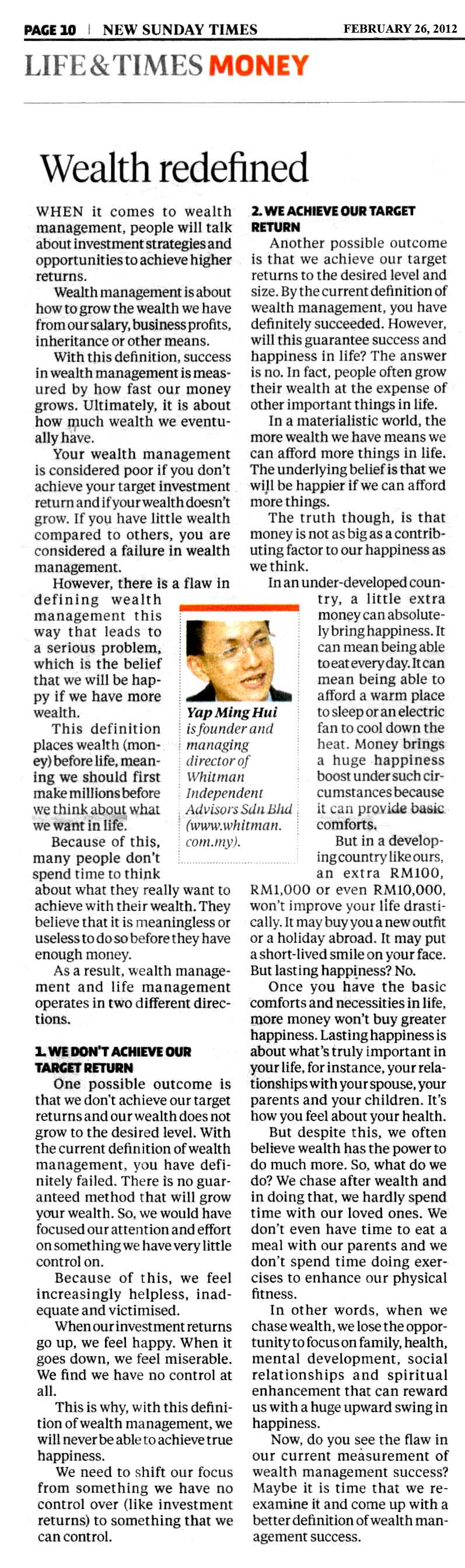 Wealth Redefined - 26 Feb 2012
