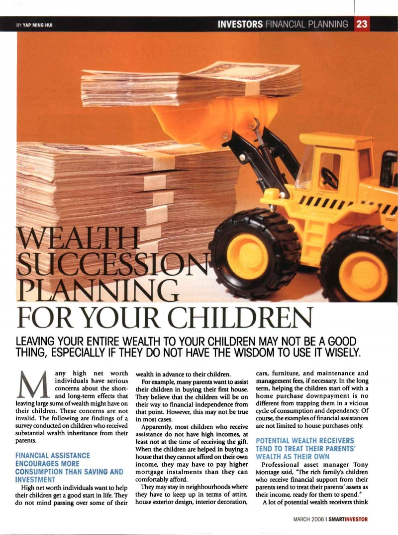 Wealth Succession Planning for Your Children (Smart Investor) - 01 Mar 2006