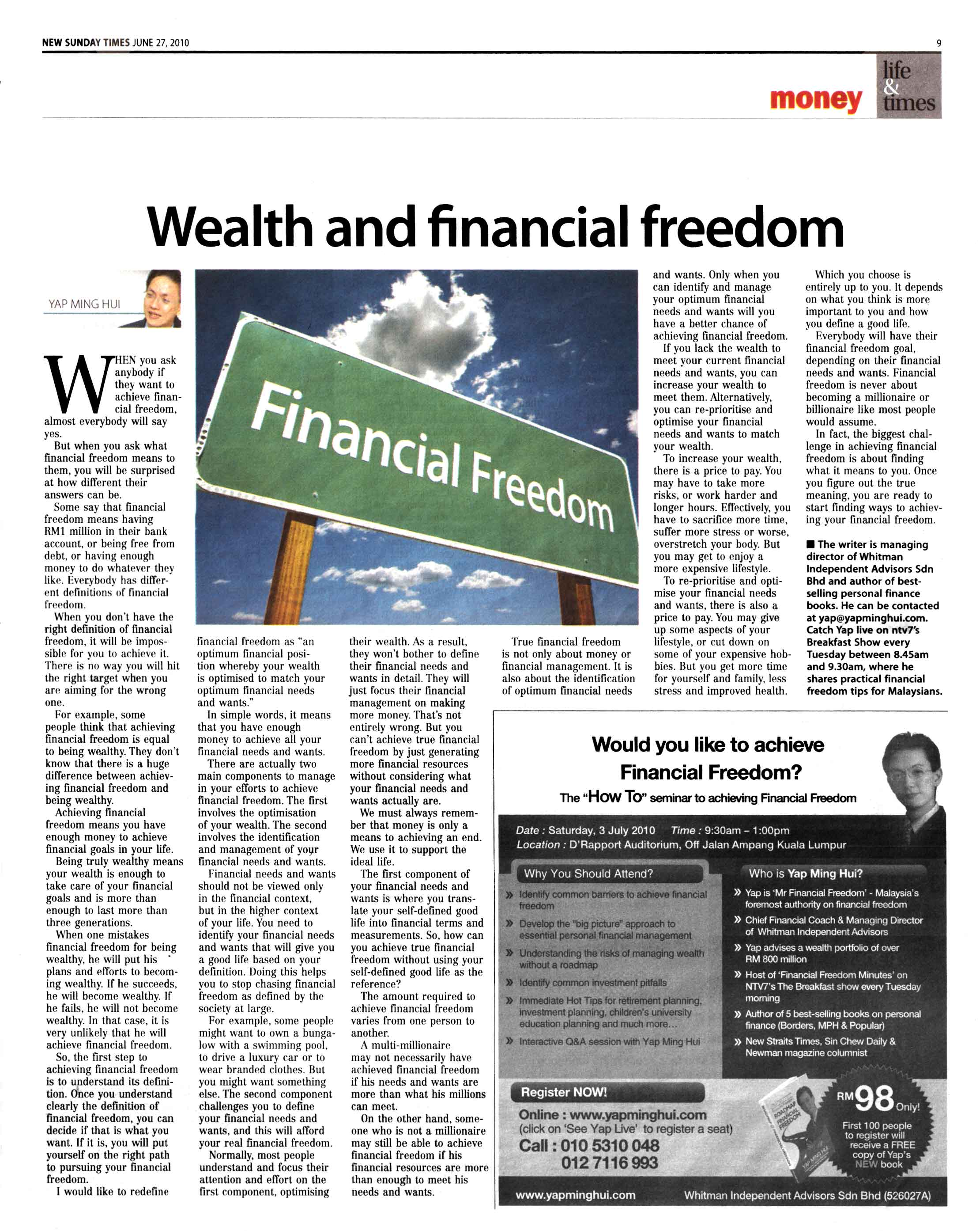 Wealth and financial freedom (New Sunday Times) - 27 Jun 2010