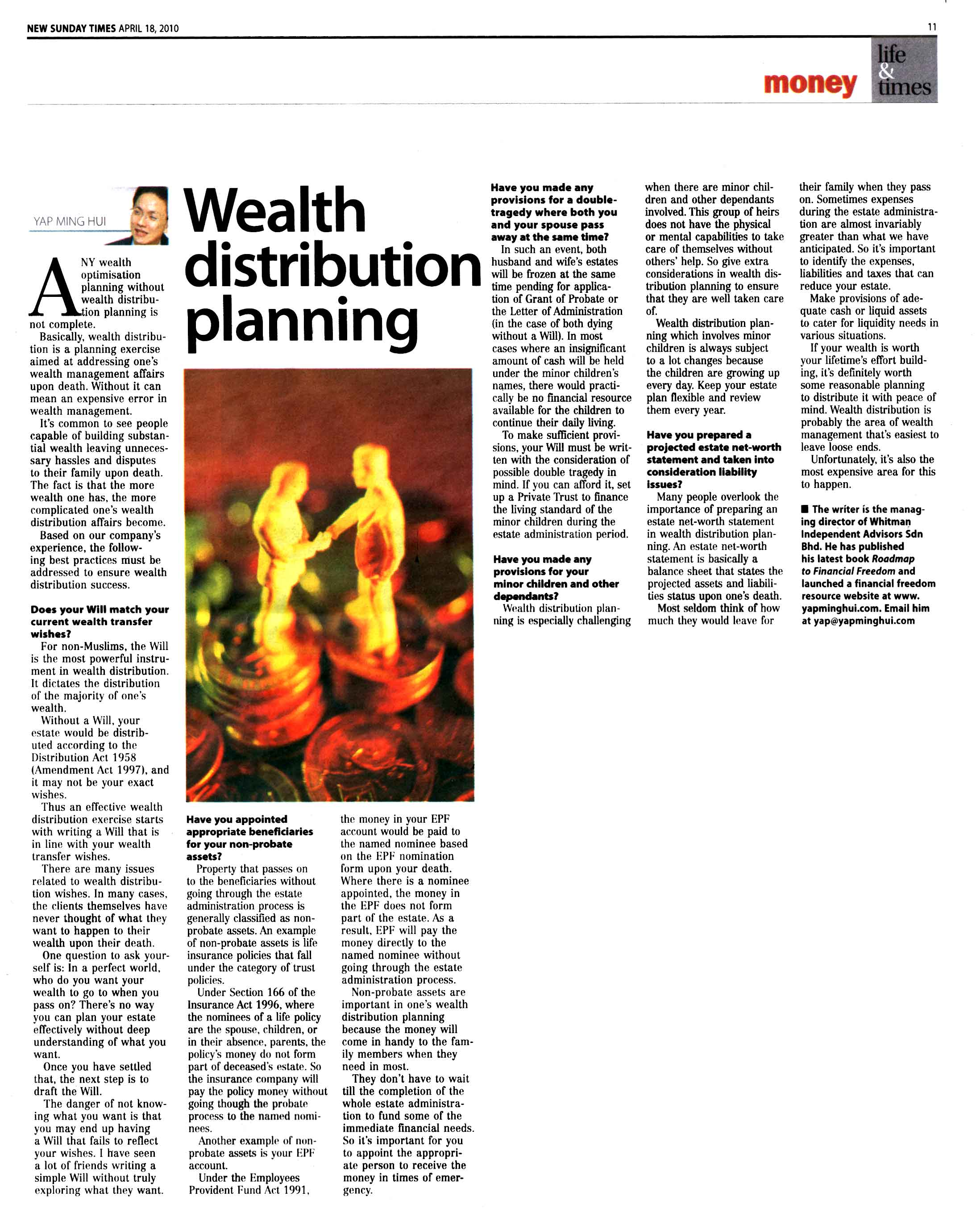 Wealth distribution planning (New Sunday Times) - 18 Apr 2010