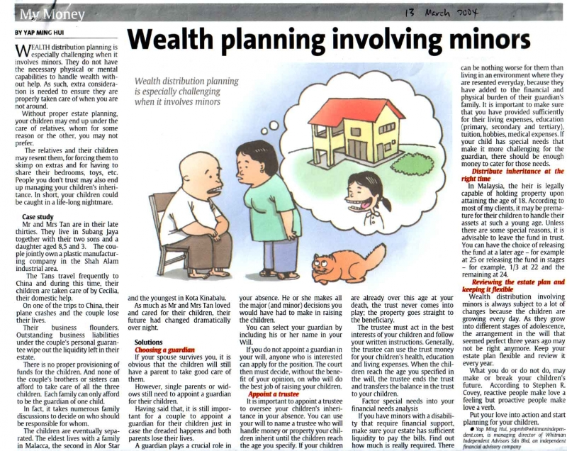 Wealth planning involving minors (The Star) - 13 Mar 2004