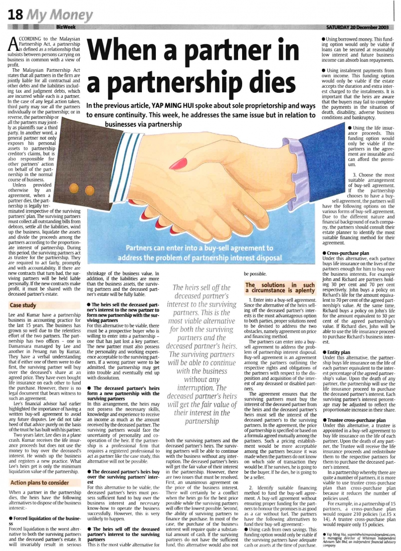 When a Partner in a Partnership Dies (The Star) - 20 Dec 2003