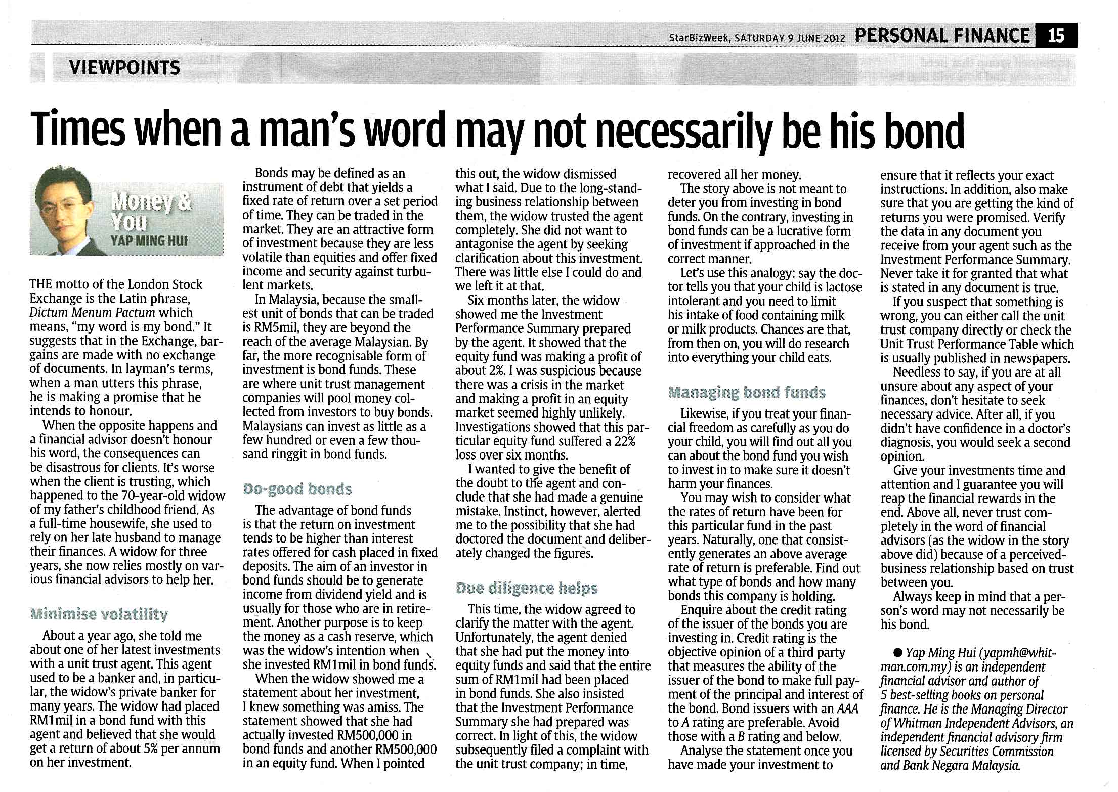 When a man's word may not necessarily be his bond - 09 Jun 2012