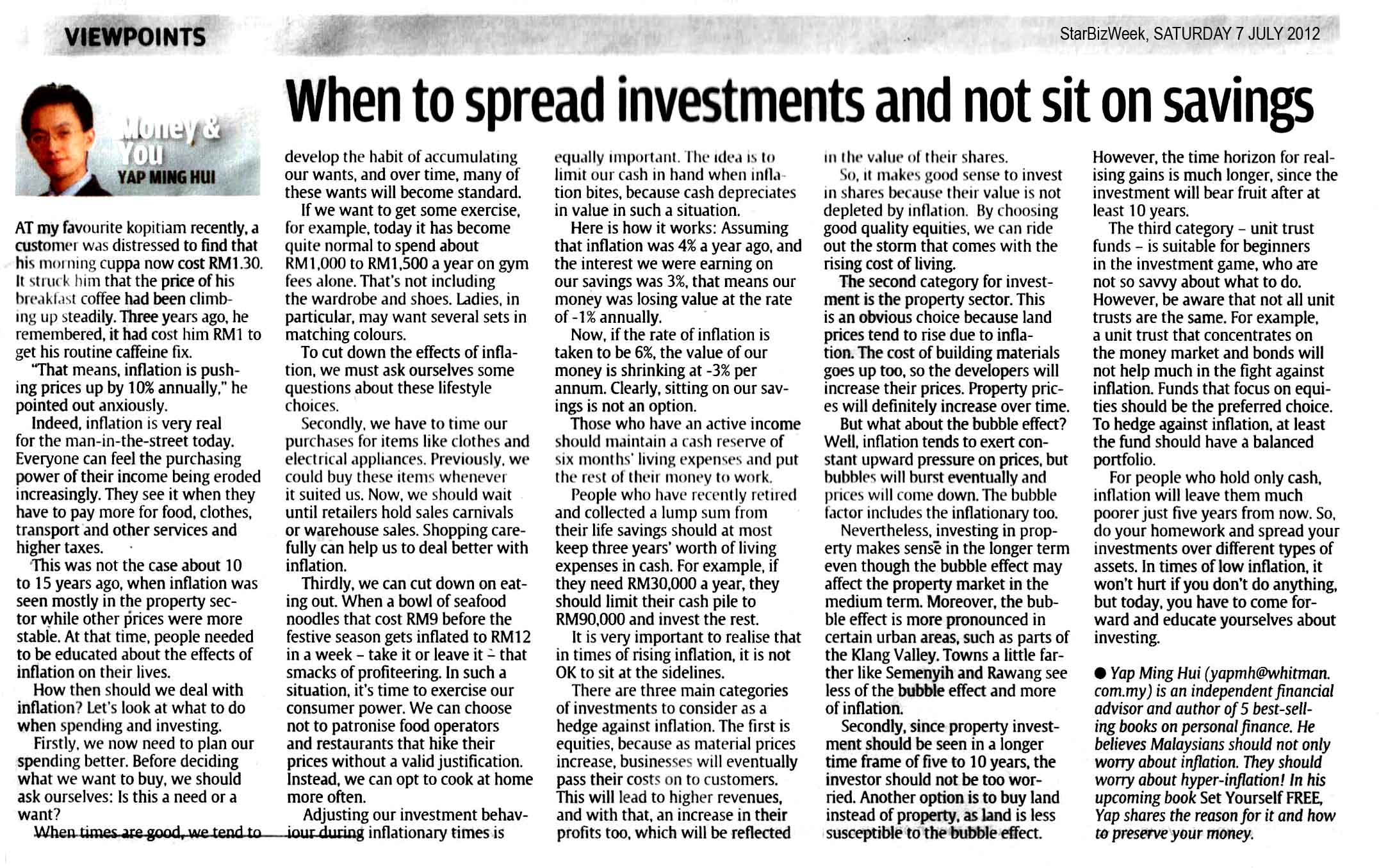 When to spread investments and not sit on savings - 07 Jul 2012