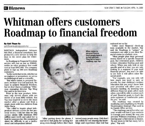 Whitman offers customers roadmap(1)