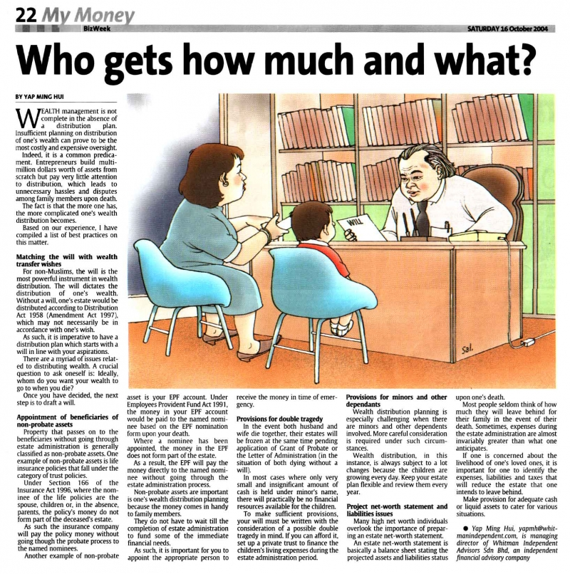 Who Gets How Much and What (The Star) - 16 Oct 2004