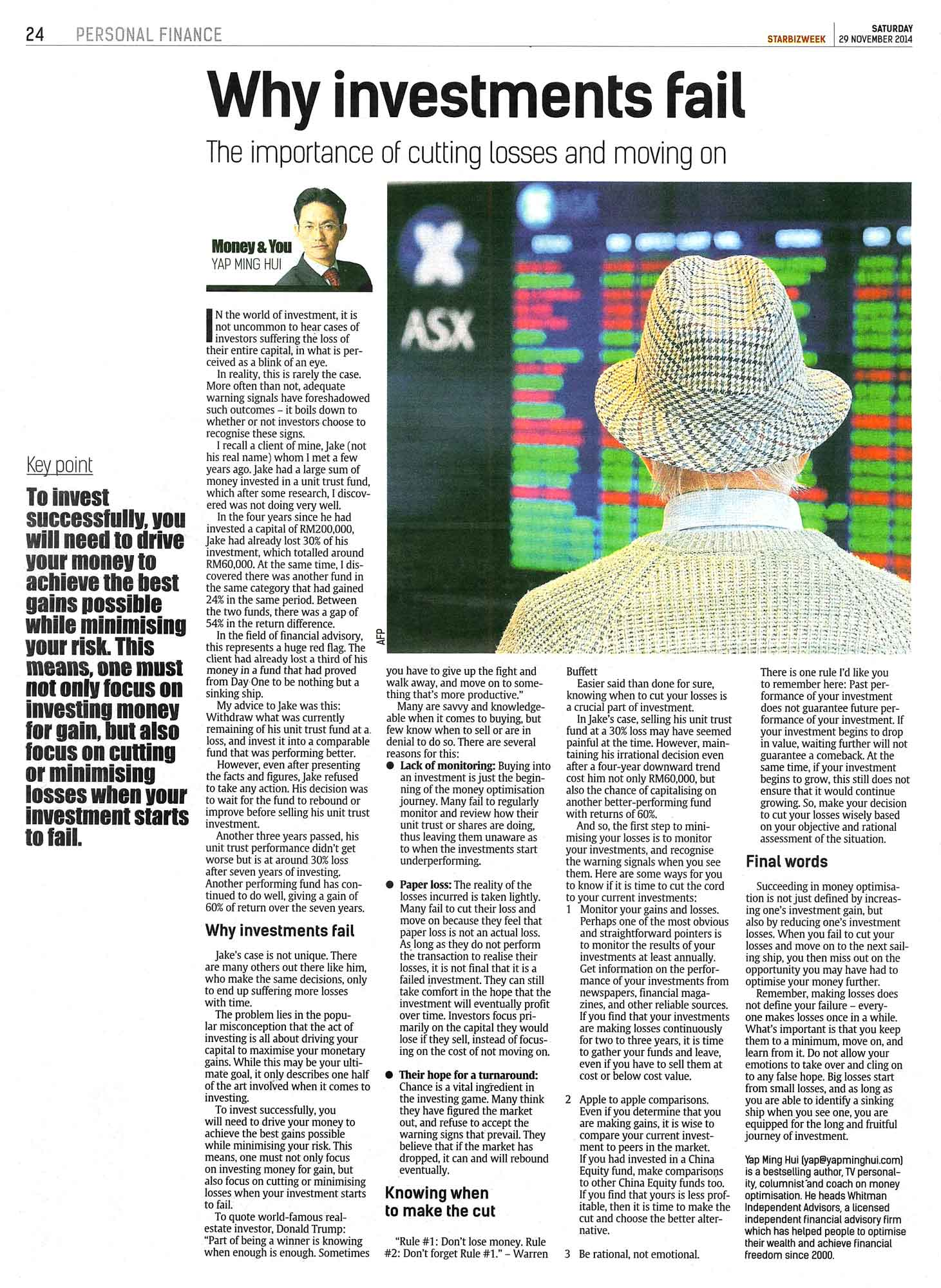 Why Investments Fail - 29 Nov 2014
