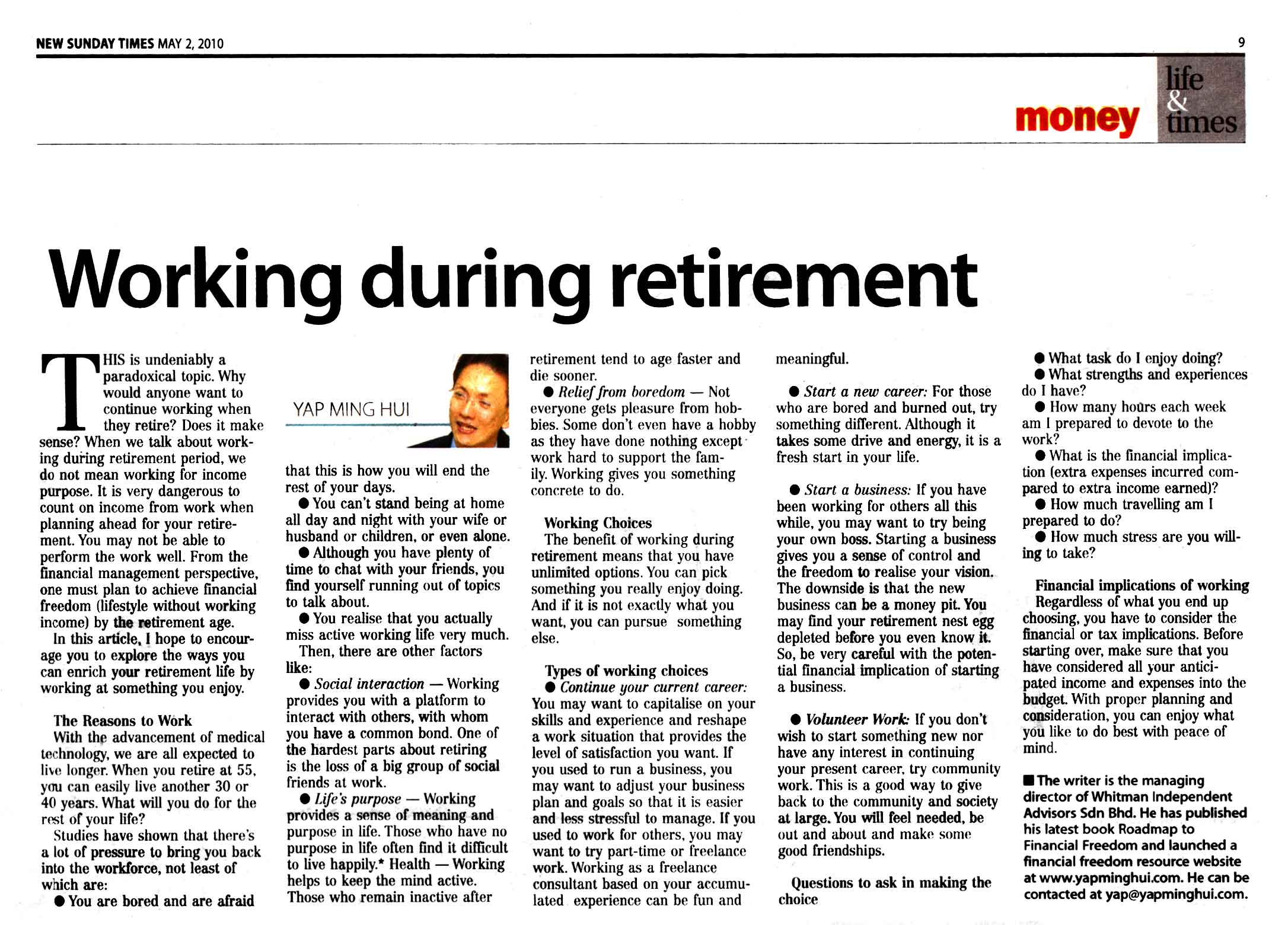 Working during retirement (New Sunday Times) - 02 May 2010