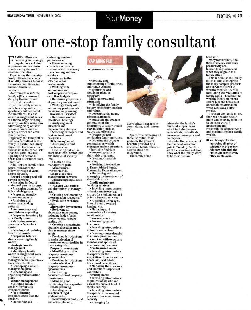Your one-stop family consultant (New Sunday Times) - 16 Nov 2008
